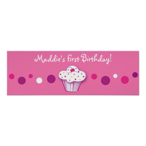 Lil Cupcake Dots Personalized Birthday Banner Print