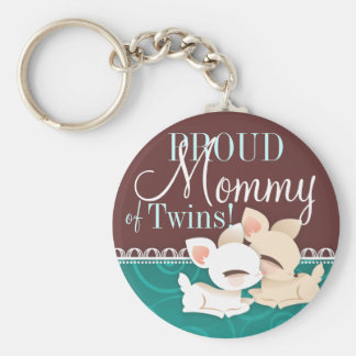 Lil Deerie Twins Teal & Brown Basic Round Button Key Ring
