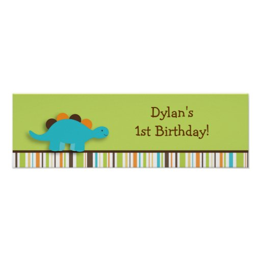 Lil Dino Dinosaur Birthday Banner Sign Posters
