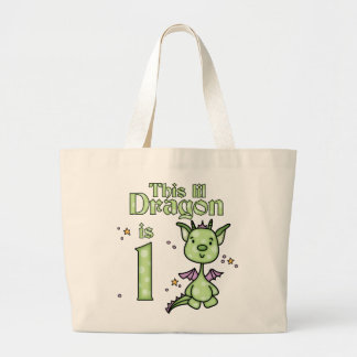 Lil Dragon 1st Birthday Large Tote Bag