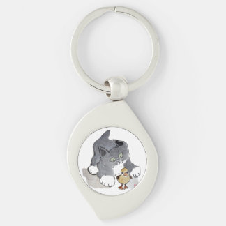Lil' Ducky and Gray Kitten Silver-Colored Swirl Key Ring