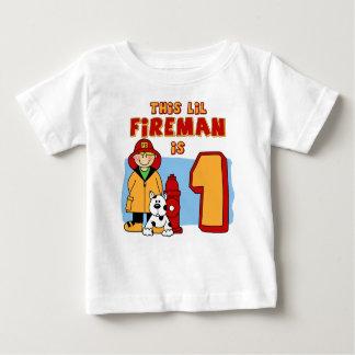 Lil Fireman 1st Birthday Baby T-Shirt