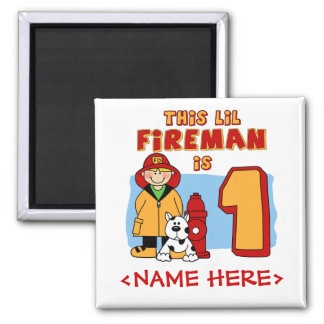Lil Fireman 1st Birthday Square Magnet