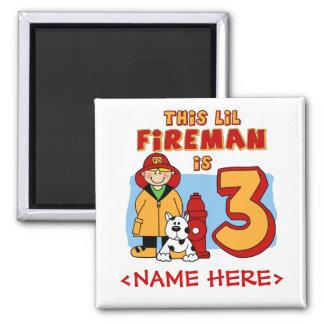 Lil Fireman 3rd Birthday Fridge Magnet