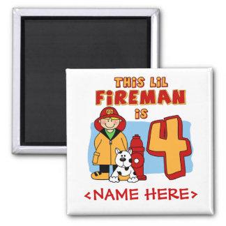Lil Fireman 4th Birthday Square Magnet