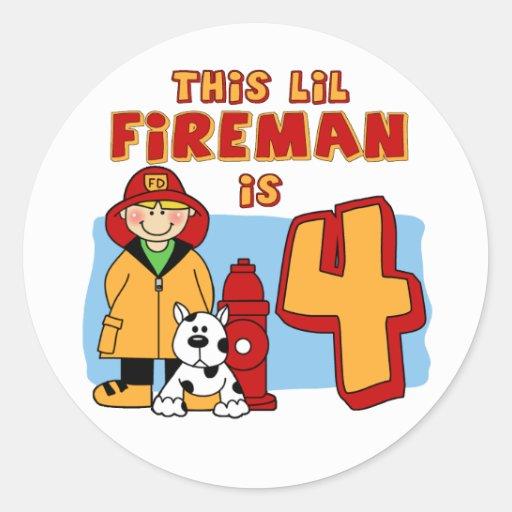 Lil Fireman 4th Birthday Sticker