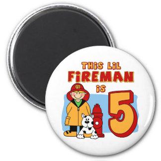 Lil Fireman 5th Birthday 6 Cm Round Magnet