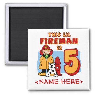Lil Fireman 5th Birthday Square Magnet