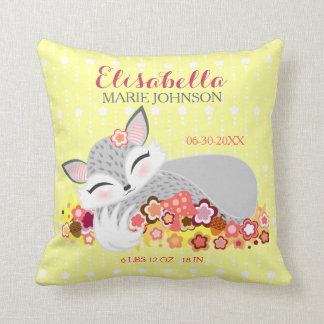 Lil Foxie Cub - Custom Birth Announcement Pillow