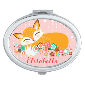 Lil Foxie Cub - Cute Baby Fox with Custom Name Mirrors For Makeup