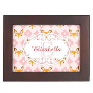 Lil Foxie - Cute Foxes Custom Name & Monogram Box Keepsake Boxes