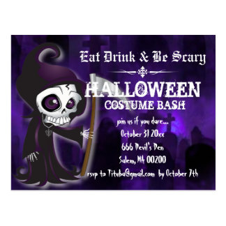 Lil' Grim Halloween Party Invite Postcard