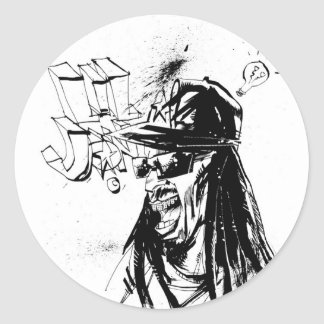 "Lil Jon ""Collaboration by Jim Mahfood and Lil Jon"" Round Sticker"