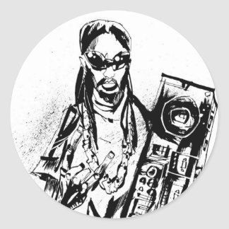 "Lil Jon ""Collaboration by Jim Mahfood and Lil Jon"" Round Sticker"
