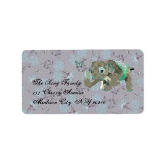 Lil' Lucky Elephant Floral Label Address Label