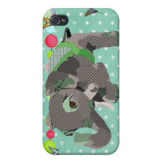 Lil' Lucky Elephant Green i iPhone 4 Cover