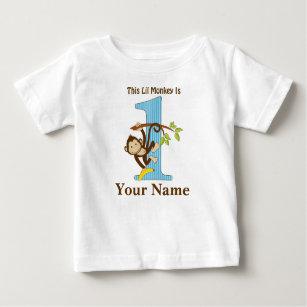 Lil Monkey First Birthday Tshirt Personalised