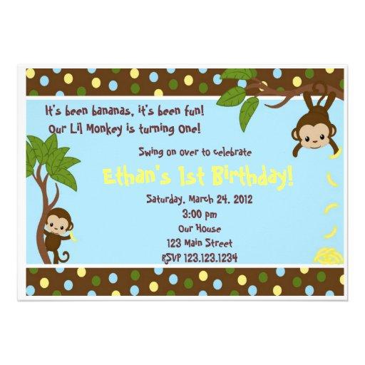 Lil Monkey Personalized Invitation