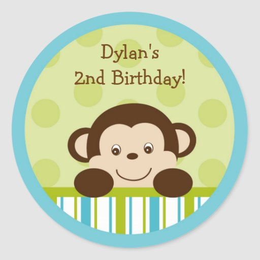 Lil Monkey Mod Monkey Cupcake Toppers Stickers