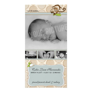Lil Monkey New Baby Birth Announcements Customized Photo Card