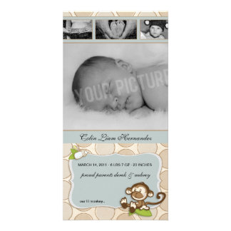 Lil Monkey New Baby Birth Announcements Personalised Photo Card