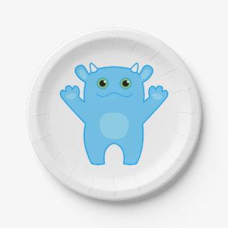 Li'l Monster Baby Paper Plate - blue