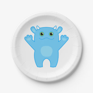 Li'l Monster Baby Paper Plate - blue 7 Inch Paper Plate