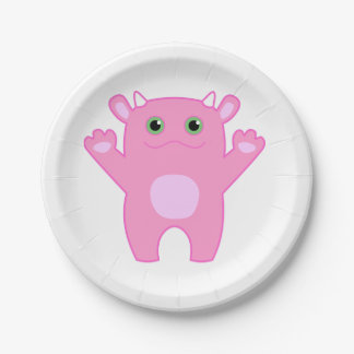 Li'l Monster Baby Paper Plate - pink
