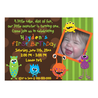 Lil Monsters First Birthday. 13 Cm X 18 Cm Invitation Card