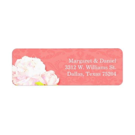 Lil Peony Blooms Coral Reef Wedding Address Labels