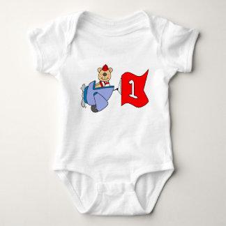 Lil Pilot Bear 1st Birthday Baby Bodysuit