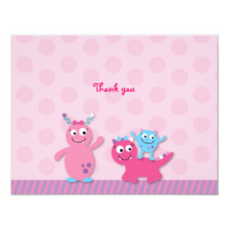 Lil Pink Monster Flat Thank You Note Cards 11 Cm X 14 Cm Invitation Card