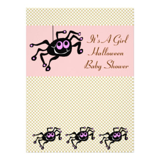 Lil Pink Spider Halloween Baby Shower Invitations