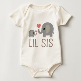 Lil Sis Elephant Gift Idea Baby Bodysuit