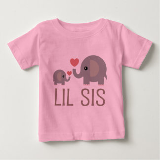 Lil Sis Elephant Gift Idea Baby T-Shirt