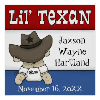Lil' Texan Personalized Name and Birthdate Poster