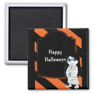 Lil' Witch the Halloween Mummy Square Magnet