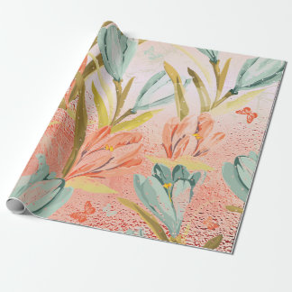 Lila Floral Gold Pink Rose Candy Pastel Shiny Wrap Wrapping Paper