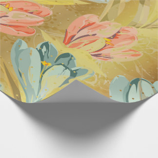 Lila Floral Gold Watercolor Pastel Shiny Wrap Wrapping Paper