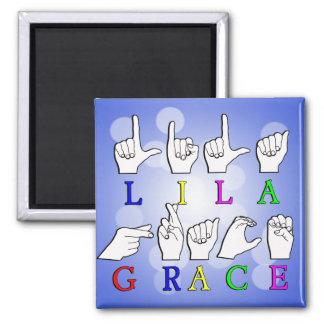 LILA GRACE FINGERSPELLED ASL SIGN NAME MAGNET