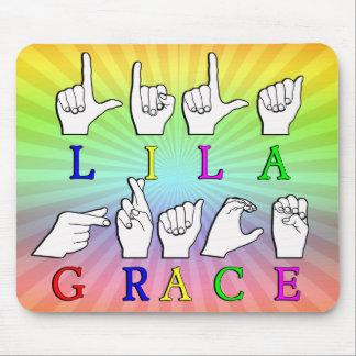 LILA GRACE FINGERSPELLED ASL SIGN NAME MOUSE PAD