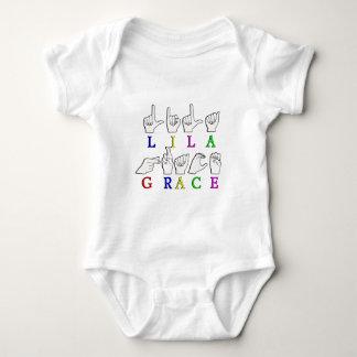 LILA GRACE  NAME ASL FINGERSPELLED SIGN BABY BODYSUIT