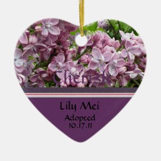 Lilac Adoption Announcement Ornament