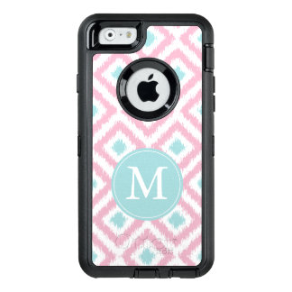 Lilac and Baby Blue Ikat Pattern Monogrammed OtterBox Defender iPhone Case