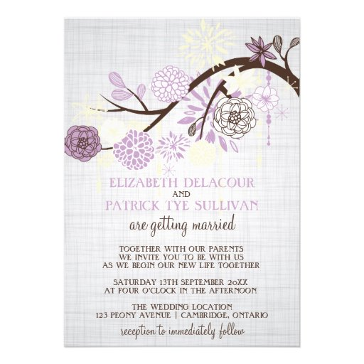 Lilac and Cream Flowers Rustic Wedding Invitation