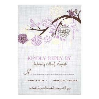 Lilac and Cream Flowers Rustic Wedding RSVP Card