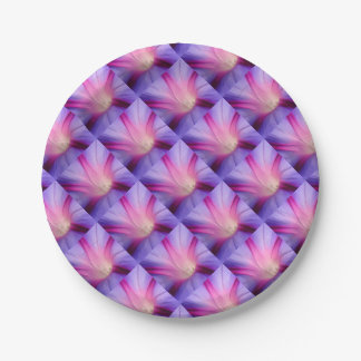 Lilac and Fuschia Morning Glory in Macro Paper Plate