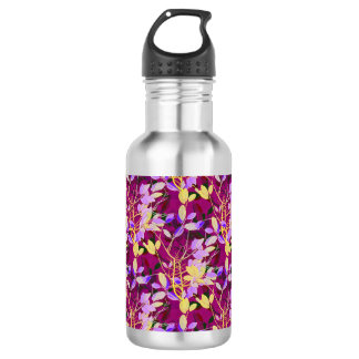 Lilac and Gold Leaves on Hot Pink 532 Ml Water Bottle