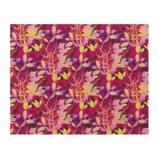 Lilac and Gold Leaves on Hot Pink Wood Canvases