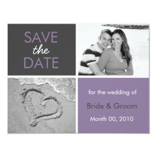 Lilac and Grey Save the Date Photo Cards 11 Cm X 14 Cm Invitation Card